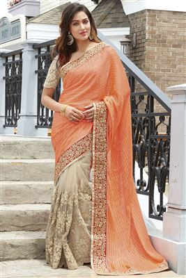 image of Breathtaking Cyan And Cream Color Silk Designer Saree