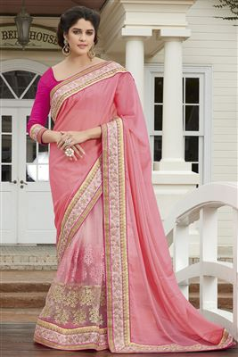 image of Designer Embroidered Pink Color Saree In Georgette And Net Fabric With Dhupion Blouse
