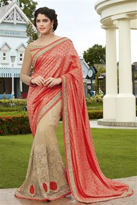 image of Party Wear Orange Half-Half Saree-5815