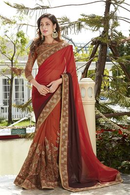 image of Beige-Green Embroidered Chiffon Party Wear Saree