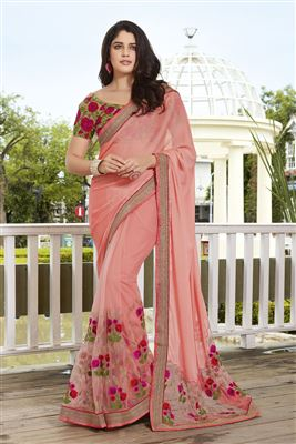 image of Red Georgette Designer Saree with Embroidery-13935