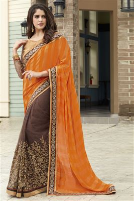 image of Designer Embroidered Orange And Brown Color Saree In Georgette And Net Fabric With Dhupion Blouse