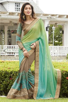 image of Georgette And Jacquard Fabric Party Wear Designer Saree In Green Color