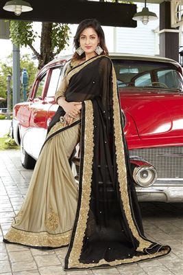 image of Georgette And Net Fabric Wedding Wear Embroidered Saree In Green And Beige Color