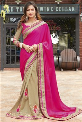 image of Brown-Cream Party Wear Georgette Saree with Blouse