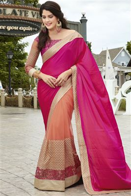 image of Georgette And Net Fabric Embroidered Designer Saree In Orange And Beige Color