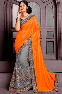 image of Wedding Wear Peach-Pink Color Embroidered Saree in Georgette-Lycra Fabric