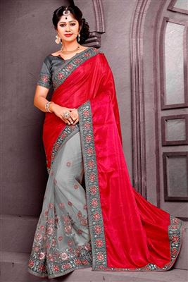 image of Sky Blue Georgette Saree with Pearl Border-6058