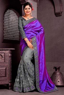 image of Grey Designer Chiffon-Net Sari with Dhupion Blouse
