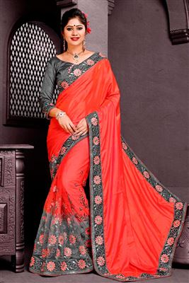 image of Blue-Green Color Fancy Fabric Designer Saree with Embroidery