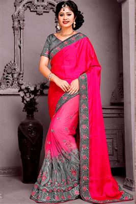 image of Gorgeous Pink Color Party Wear Saree