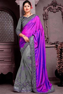 image of Pink Georgette Saree for Festive Occasion