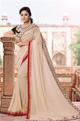 image of Pink Color Party Wear Saree in Georgette Fabric with Blouse
