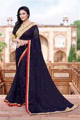 image of Pink-Black Chiffon Festive Wear Designer Saree-902
