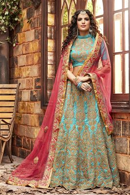 image of Bridal Wear Velvet Lehenga Choli in Maroon Color with Embroidery