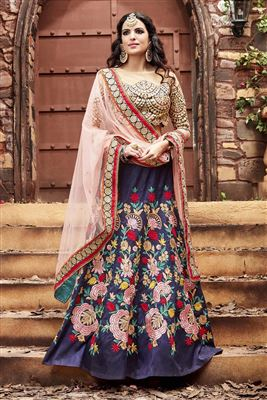 image of Wedding Bridal Silk Fabric Lehenga in Red Color with Designer Silk Choli