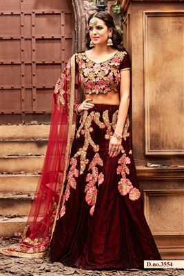 image of Black Color Wedding Wear Net-Georgette Lehenga Choli with Embroidery