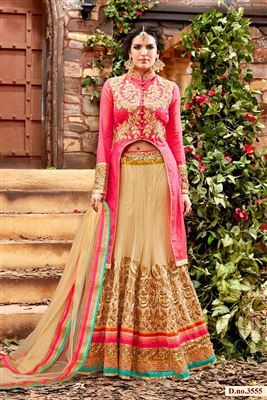 image of Georgette-Satin Party Wear Red Color 3 Piece Bridal Lehenga Choli