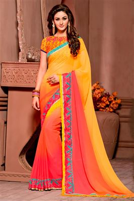 image of Off White Chiffon Designer Saree with Embroidery-1