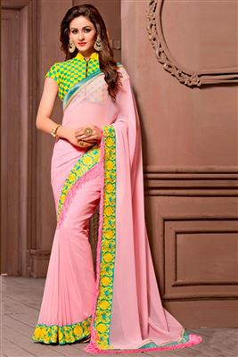 image of Party Wear Green Chiffon Saree-5713