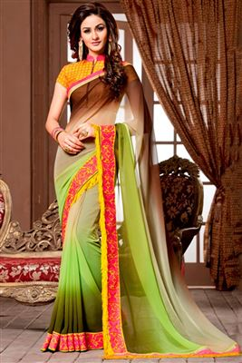 image of Embroidered Pink And Orange Color Designer Saree In Georgette Fabric