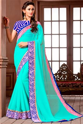 image of Cyan Color Party Wear Traditional Silk Saree