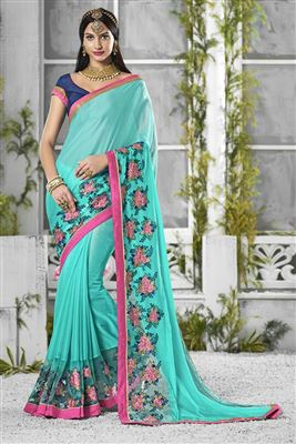 image of Cyan Color Designer Georgette Fabric Saree With Embroidery