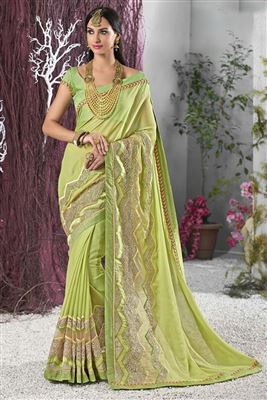 image of Cream-Magenta Color Festive Wear Banarasi Silk Fabric Designer Half n Half Saree