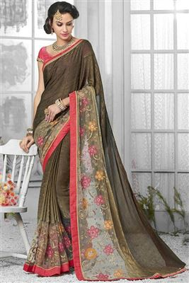 image of Smashing Green Color Designer Embroidered Saree