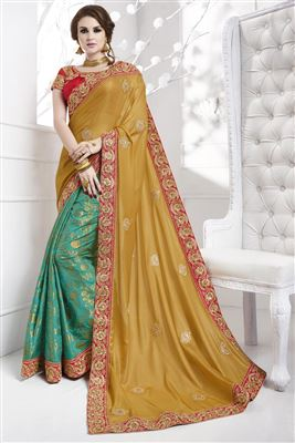 image of Orange And Blue Color Designer Party Wear Georgette Saree