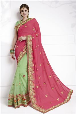 image of Casual Wear Sea Green Georgette Saree-1187