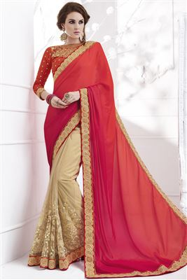 image of Pink Color Festive Wear Designer Saree In Georgette And Art Silk Fabric