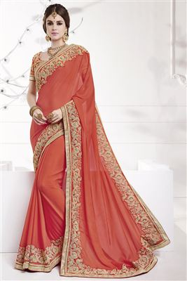 image of Red Color Party Wear Designer Saree in Chiffon Fabric