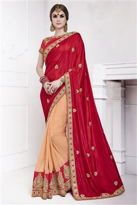 image of Beauteous Pink Color Designer Chiffon Saree