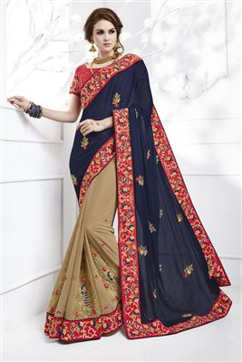 image of Grey-Cream Color Fancy Fabric Party Saree with Dhupion Blouse