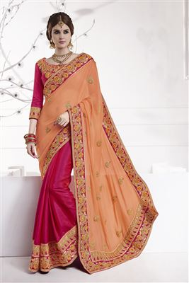 image of Peach And Brown Color Designer Saree With Embroidery Work In Georgette And Net Fabric