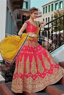image of Wedding Bridal Red Color Embroidered Lehenga Choli in Velvet Fabric