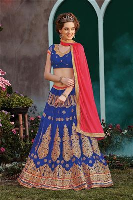 image of Beautiful Pink Color Georgette-Shimmer Bridal Wear Lehenga Choli