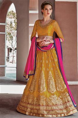 image of Beige Color Wedding Wear Silk Designer Lehenga Choli