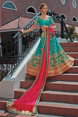 image of Designer Net Fabric Embroidered Sharara Top Lehenga In Off White Color