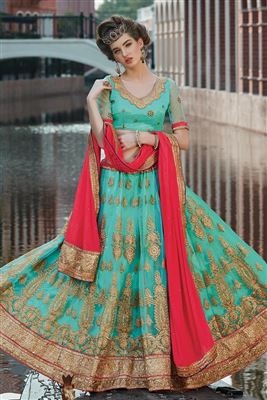 image of Red Color Embroidered Wedding Wear Designer Net Lehenga Choli