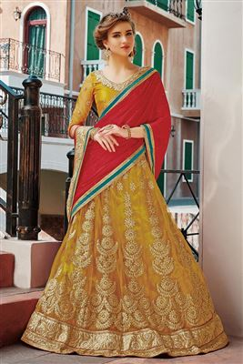 image of Georgette Fabric Embroidered Lehenga Choli in Orange Color