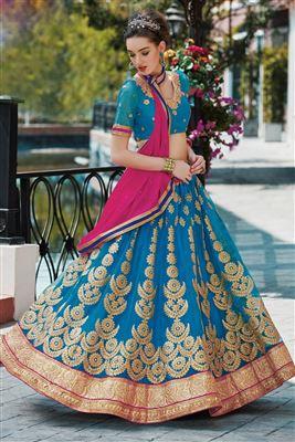 image of Green-Pink Designer Net Lehenga Choli