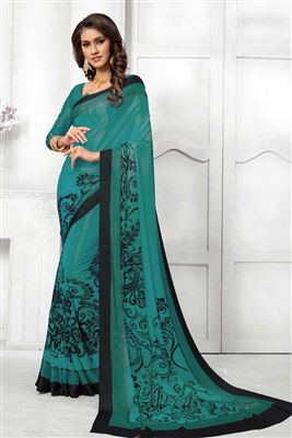 a2832de43cf3e8 image of Digital Print Party Wear Satin Silk Saree With Fascinating Blouse