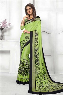 fb834a5e09ab36 image of Satin Silk Green With Digital Print Saree And Alluring Blouse
