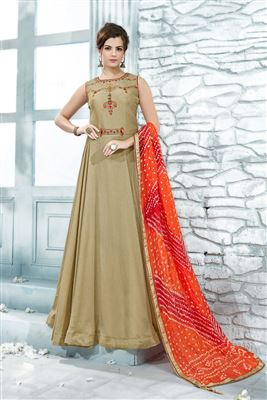 3fef991726 image of Cream Designer Art Silk Fabric Readymade Party Wear Floor Length  Gown
