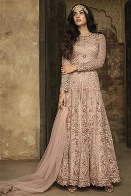 18a3c9c91c5 image of Sonal Chauhan Function Wear Designer Net Fabric Long Length Anarkali  Suit In Pink