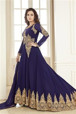 image of Dia Mirza Blue Color Designer Anarkali Suit In Georgette Fabric