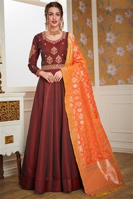 Buy Impressive Fancy Fabric Party Wear Designer Dark Beige