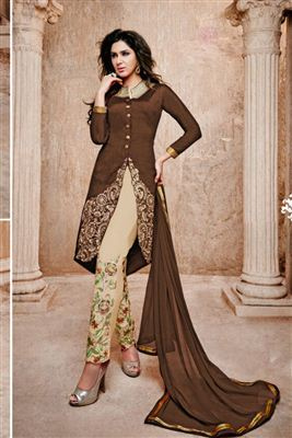 image of Brown Color Straight Cut Designer Salwar Suit In Cotton Fabric